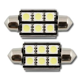 2 x BOMBILLA BLANCA PLAFONIER 6 LEDS 39MM SMD CAN-BUS